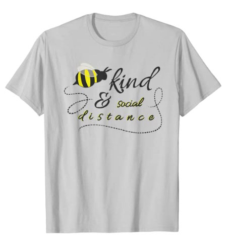 Bee Kind and Social Distance Emoji Icon T-Shirt
