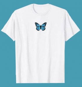 Blue Butterfly Fashion Emoji Icon Style T-Shirt