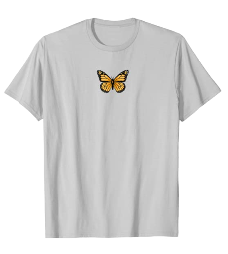 Classic Black and Orange Monarch Butterfly Icon Emoji T-Shirt