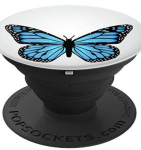 Blue Butterfly Fashion Emoji Icon PopSockets Grip and Stand for Phones and Tablets
