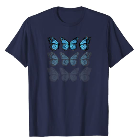 Blue Butterfly Faded 90s Graphic Cute Emoji Pattern T-Shirt